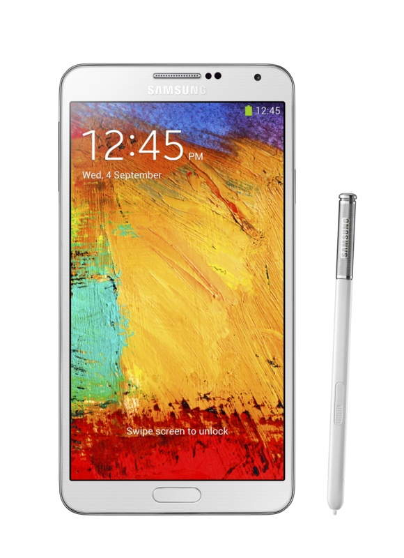 Galxy Note3_002_front with pen_Classic White_screen