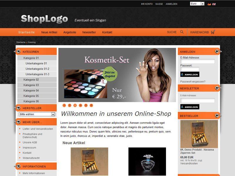 Blaues xt:commerce div/css-template navigation links fema-media.