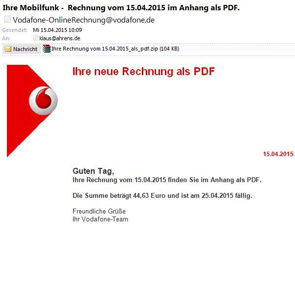 Phishing Welle Mit Angeblichen Vodafone Rechnungen Klaus Ahrens
