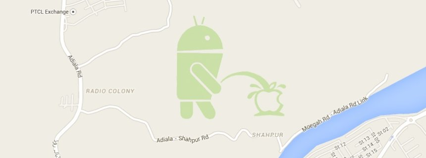 Screenshot Android/ Apple/ Google Maps/ Pinkelnder Roboter