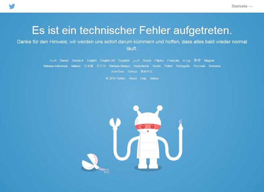 Screenshot Twitter/ Fehlermeldung